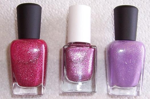 3 pink-purple bottles