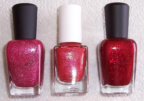 3 pink-red bottles