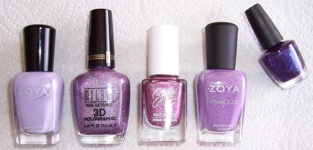 5 purple bottles
