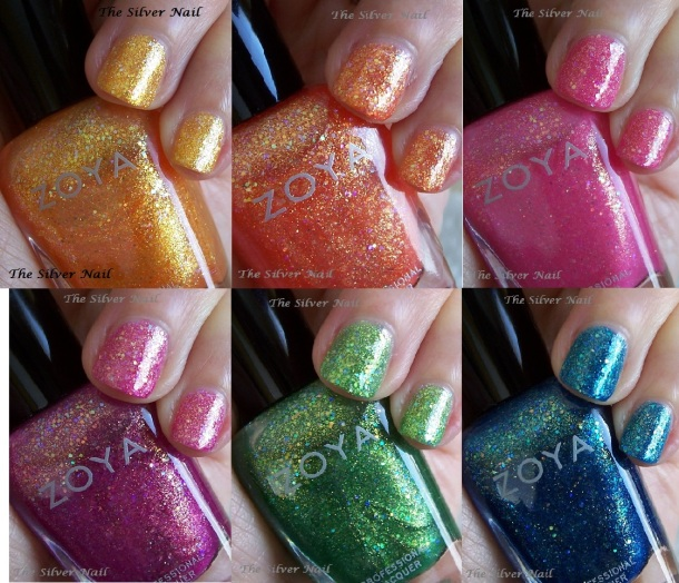 Zoya Bubbly six swatches