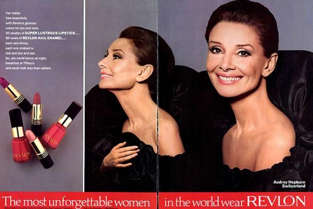 Audrey Hepburn Revlon ad 1980s