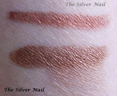 2 bronze swatches smudged